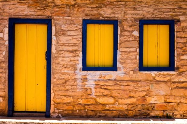 Detalhe de casa em pedra, no , centro da cidade  de Grão Mogol, (MG) que foi construída  por escravos.    . (Foto Joel Silva / Folhapress. )